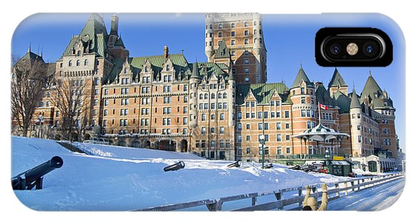 Travel Destination iPhone Case - Quebec City In Winter, Traditional by Vlad G