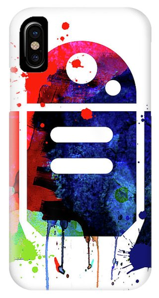 Film iPhone Case - R2-d2 Cartoon Watercolor by Naxart Studio
