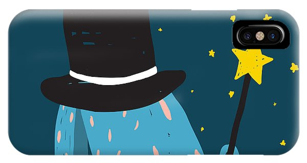 Baby Blue iPhone Case - Rabbit In Black Hat Doing Tricks With by Popmarleo