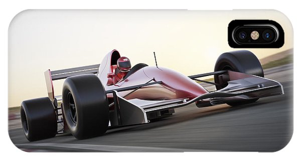 One iPhone Case - Race Car Racing On A Track With Motion by Digital Storm
