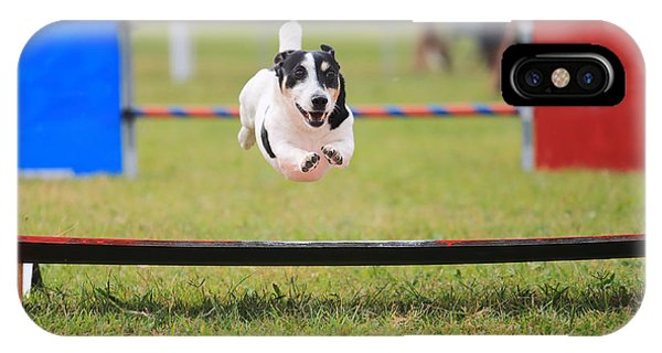 Small iPhone Case - Racing Dog For Agility by Francesco De Marco