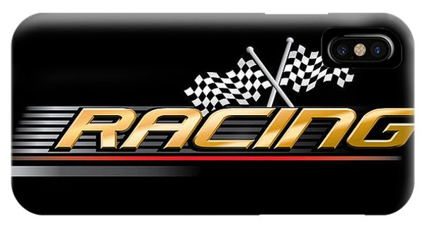 One iPhone Case - Racing With Checkered Flags by Vectorvault