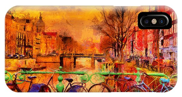 Dusk iPhone Case - Rain Over Amsterdam Canal Impressionist by Ivan Aleshin