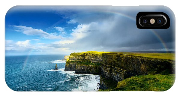 Cloudscape iPhone Case - Rainbow Above Cliffs Of Moher. Ireland by Liseykina
