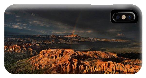 Rainbow And Thunderstorm Over The Paunsaugunt Plateau  IPhone Case