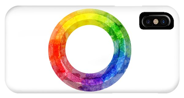 IPhone Case featuring the painting Rainbow Color Wheel by Lauren Heller