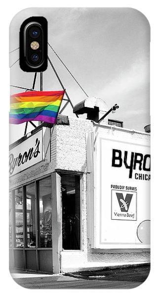 Gay Pride Flag iPhone Case - Rainbow Dog Byrons Hot Dogs by William Dey