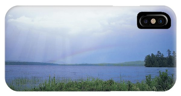 IPhone Case featuring the digital art Rainbow Over Raquette Lake by Christopher Meade