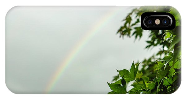 Rainbow With Leaves In Foreground IPhone Case