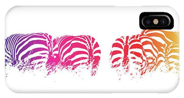 iPhone Case - Rainbow Zebras by Jane Rix