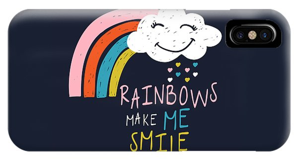 Rainbows Make Me Smile - Baby Room Nursery Art Poster Print IPhone Case