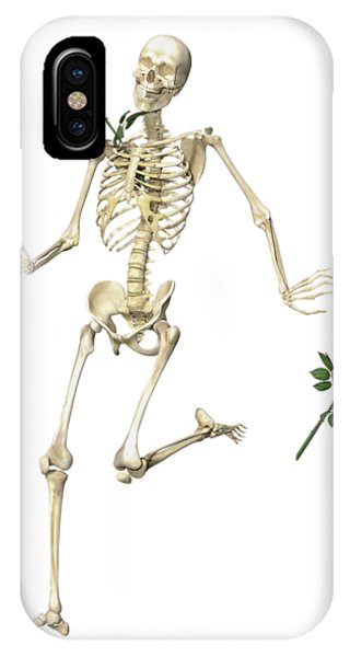 Human Interest iPhone Case - Rambling Rose Running Skeleton by Betsy Knapp