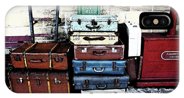 Ramsbottom.  Elr Railway Suitcases On The Platform. IPhone Case