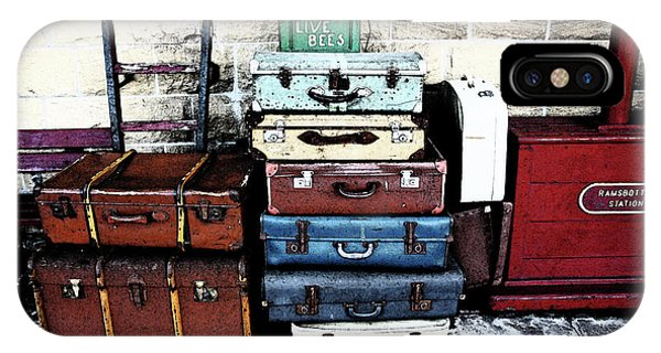 Ramsbottom.  Elr Railway Suitcases On The Platform. IPhone Case