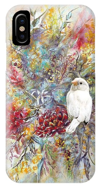 Rare White Sparrow - Portrait View. IPhone Case