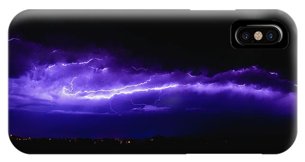 Rays In A Night Storm With Light And Clouds. IPhone Case