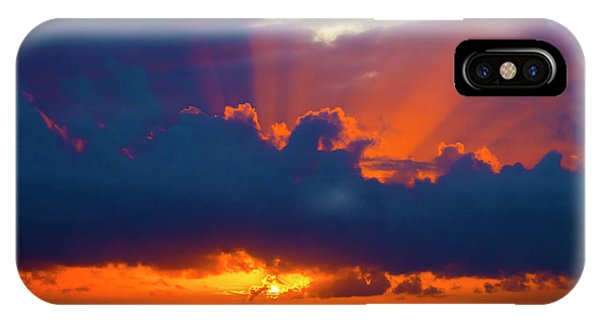 Sun Set iPhone Case - Rays Of Light Over The Ocean by Garry Gay
