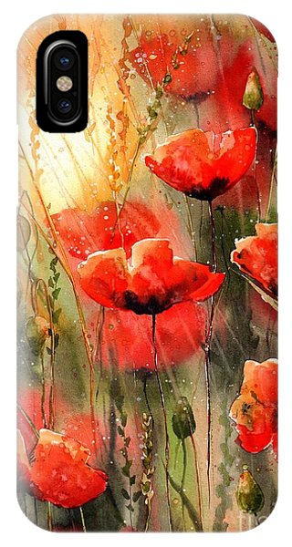 Red Heart iPhone Case - Real Red Poppies by Suzann Sines