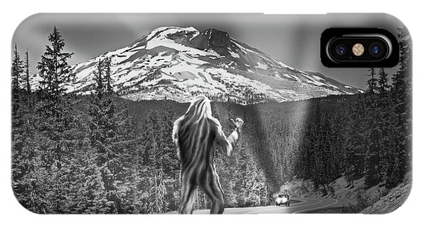 iPhone Case - Rear View Of A Sasquatch Hitchhiking by Panoramic Images