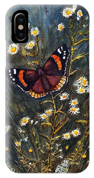 Red Admiral And Wild Aster IPhone Case