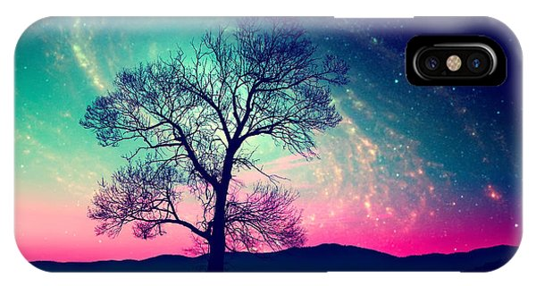 Full Moon iPhone Case - Red Alien Landscape With Alone Tree by Ssokolov