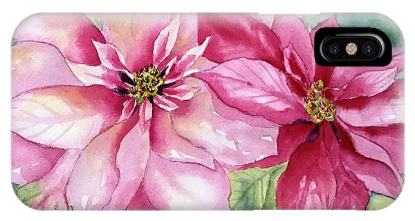 Red And Pink Poinsettias IPhone Case