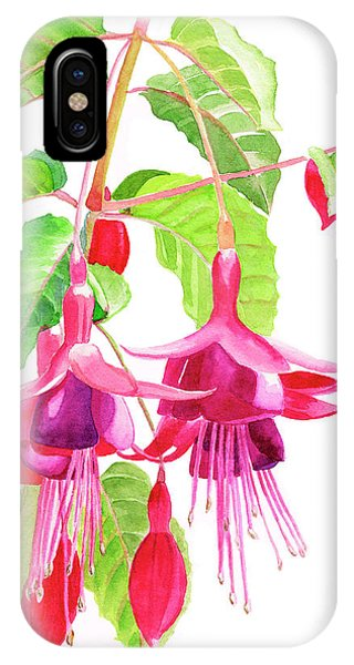 Red-violet iPhone Case - Red And Purple Fuchsias by Sharon Freeman