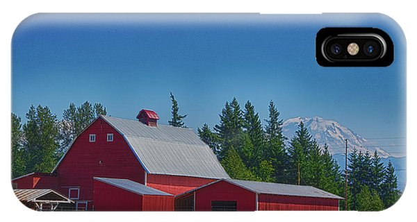 Red Barn With Mount Rainier IPhone Case