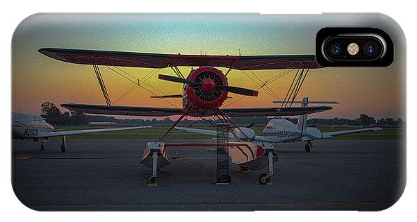 Red Biplane At Dawn IPhone Case