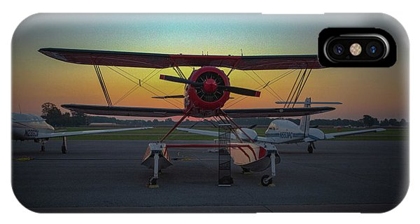 Red Biplane At Dawn IPhone Case