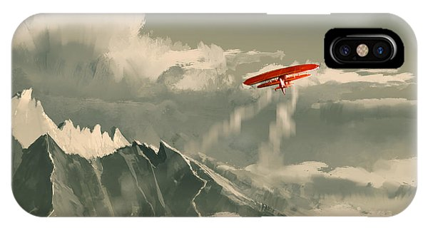 Red Rock iPhone X Case - Red Biplane Flying Over by Tithi Luadthong