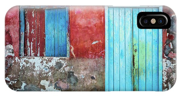 Red, Blue And Grey Wall, Door And Window IPhone Case