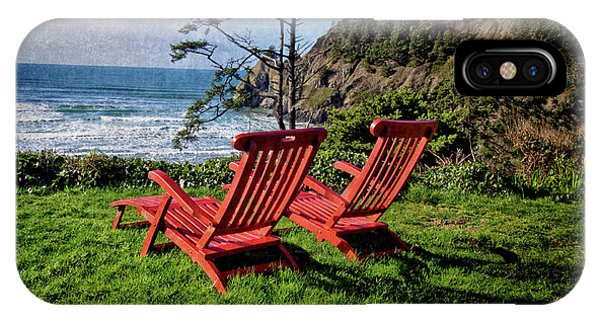 Red Chairs At Agate Beach IPhone Case