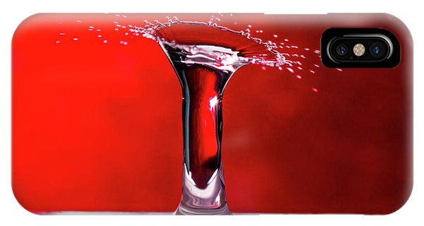 IPhone Case featuring the photograph Red Column Water Drop Collision by SR Green
