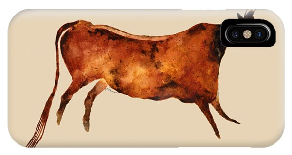 Art Cow iPhone Case - Red Cow In Beige by Hailey E Herrera