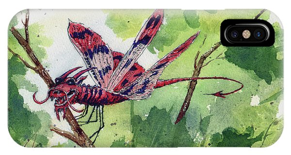 IPhone Case featuring the painting Red Dragonfly by Sam Sidders