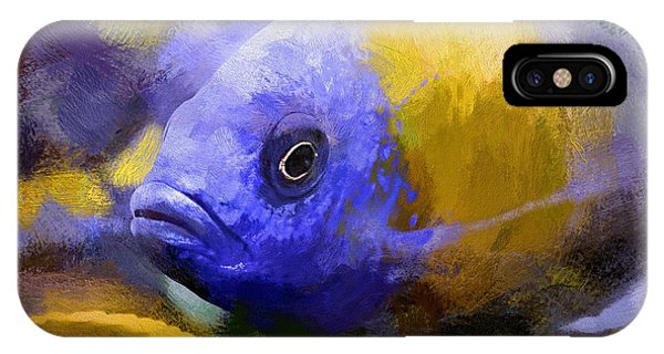 IPhone Case featuring the digital art Red Fin Borleyi Cichlid Artwork by Don Northup