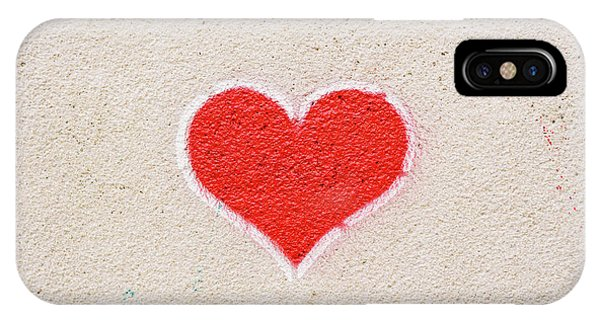 Red Heart Painted On A Wall, Message Of Love. IPhone Case