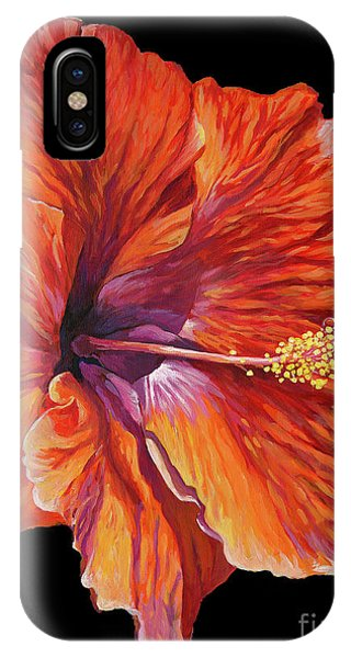 Hibiscus Flower iPhone Case - Red Hibiscus On Black by John Clark