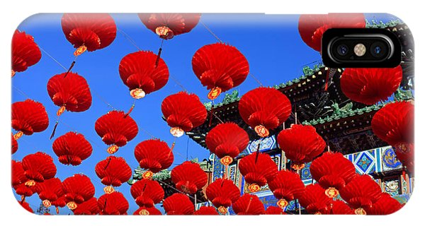 Downtown iPhone Case - Red Lanterns Are Used As Decoration For by Testing