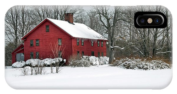 Red New England Colonial In Winter IPhone Case