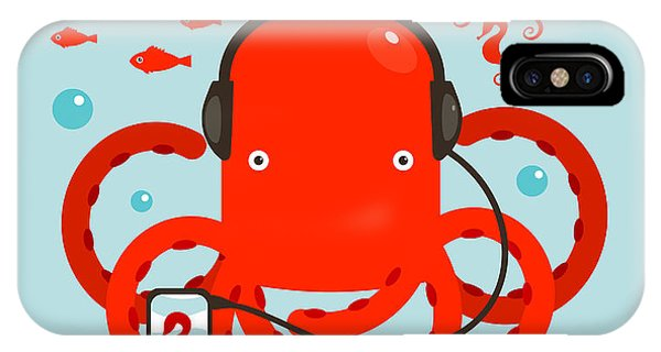 Seahorse iPhone Case - Red Octopus Listening To Smartphone by Popmarleo