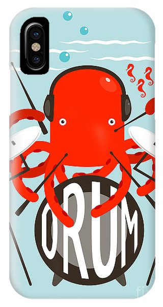 Red Rock iPhone X Case - Red Octopus Playing Drums. Underwater by Popmarleo