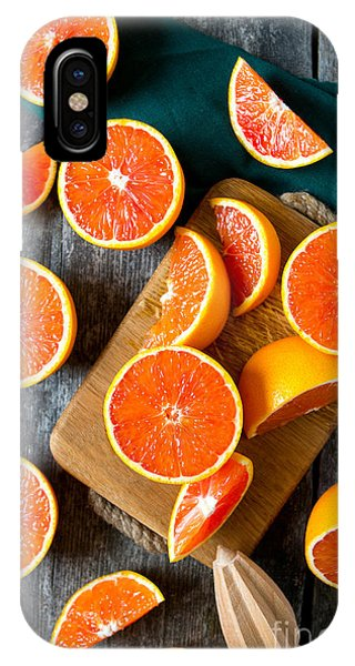 Ripe iPhone Case - Red Oranges On Wooden Surface by Diana Taliun
