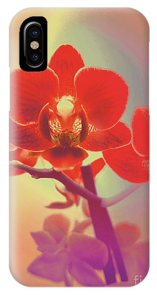IPhone Case featuring the mixed media Red Orchid  by Rachel Hannah