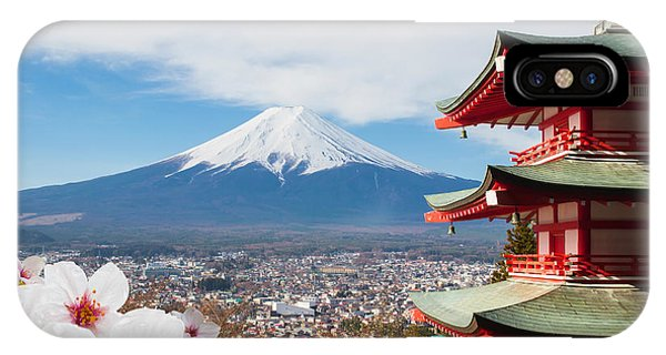 White Mountains iPhone Case - Red Pagoda With Mt Fuji Background And by Tnshutter