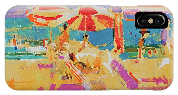 Sunbather iPhone Case - Red Parasols, Miami by Peter Graham