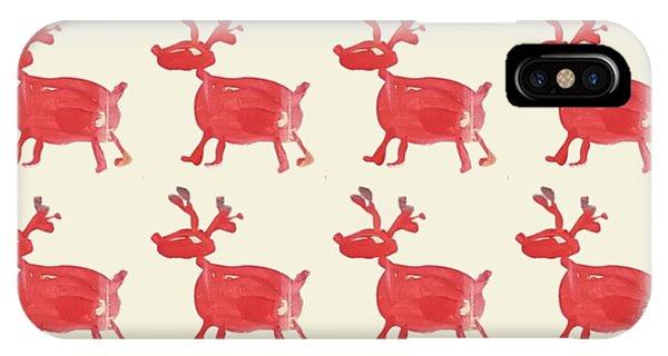 Red Reindeer Pattern IPhone Case