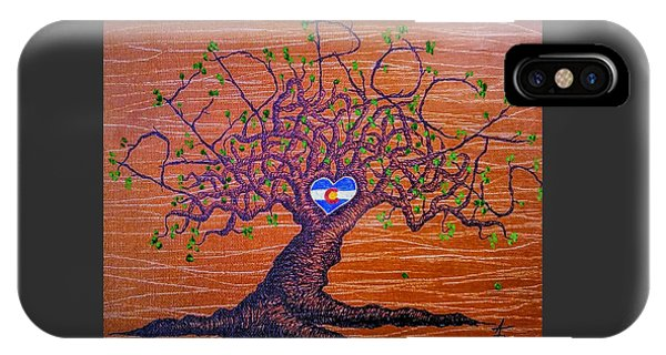 IPhone Case featuring the drawing Red Rocks Lta W/ Foliage by Aaron Bombalicki