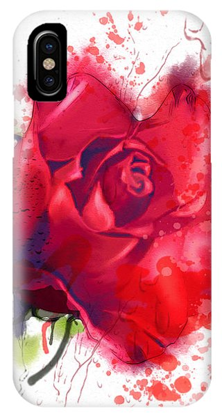Design iPhone Case - Red Rose. Watercolor by Pacrovka